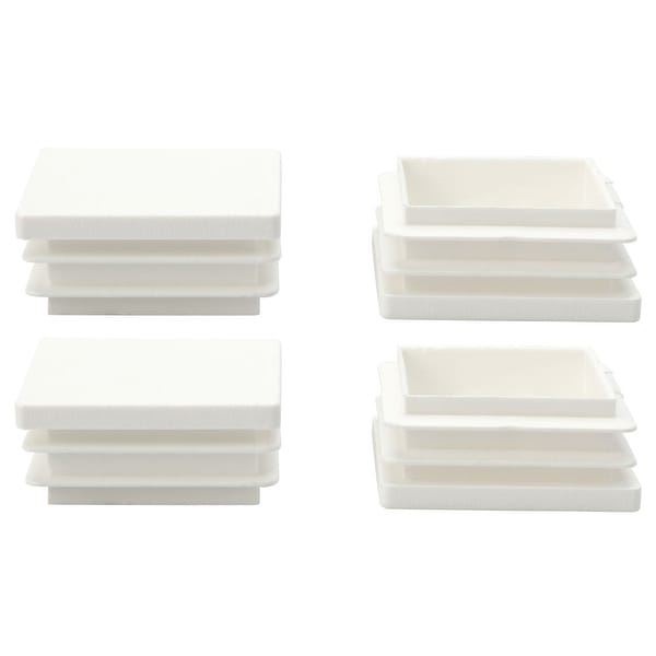 """4pcs 40 x 40mm Plastic Square Ribbed Tube Inserts End Cover Cap, for 1.46"""" to 1.54"""" Inner Size, Furniture Feet Floor Protector"""