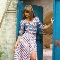 Women's Bohemia Hot V-Neck Half Sleeve Summer Beach Slit Long Maxi Dress