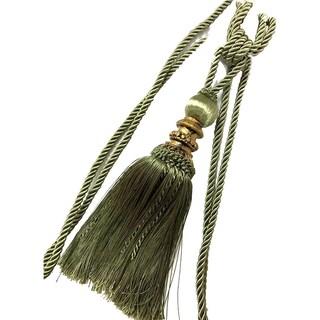Single Decorative Rope Tassel Resin Tie Back, 10 Inch Tassel, 36 Inch Spread (Option: Green)