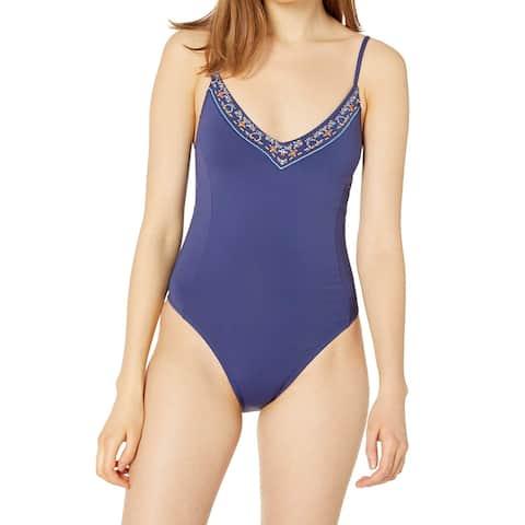Hobie Women's Swimwear Blue Size Medium M One-Piece Embroidered-Trim