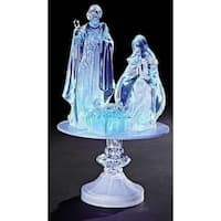 "12"" Battery Operated LED Lighted Icy Crystal Nativity on Pedestal Table Top Figure - CLEAR"