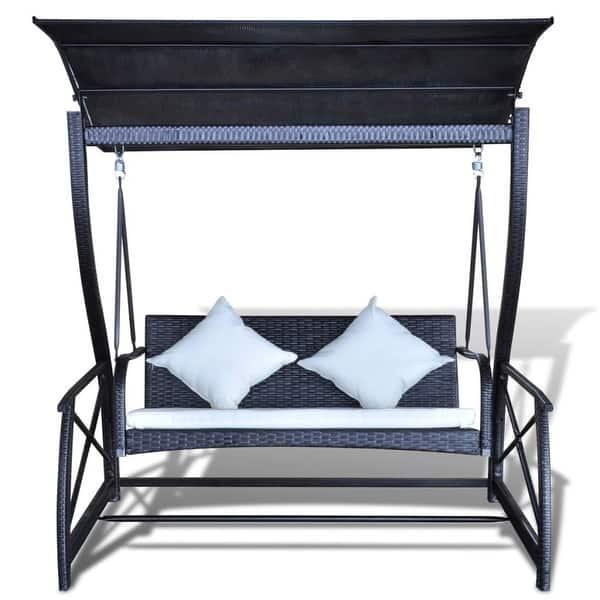 Magnificent Shop Vidaxl Outdoor Swing Bench Poly Rattan Wicker Black Camellatalisay Diy Chair Ideas Camellatalisaycom