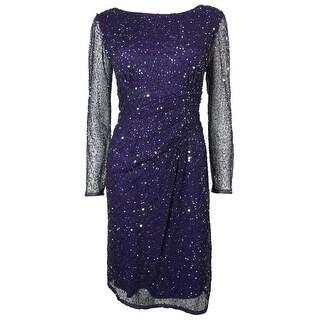 Patra Women's V-Back Long Sleeves Beaded Mesh Dress - Violet