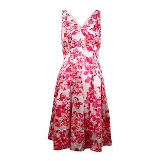 Lauren Ralph Lauren Women's V-Neck Floral Sateen Dress - White/Multi