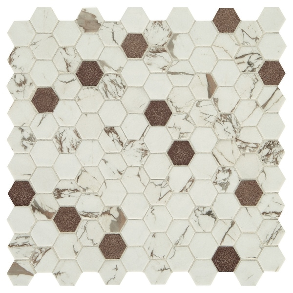"""Daltile UP1HEXMS1PW Uptown Glass - 1"""" x 1"""" Hexagon Mosaic Wall Tile - Matte, Textured Marble Visual - Sold by Sheet"""