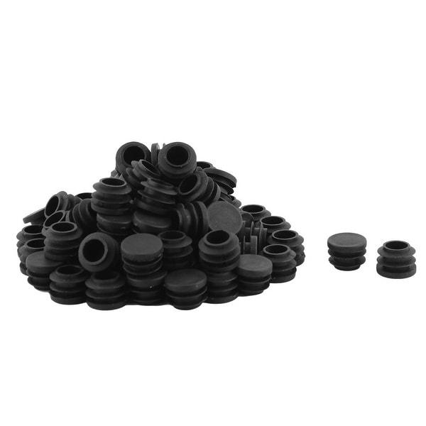 Plastic Round Shaped Table Desk Chair Floor Protector Tube Insert Black 80 Pcs
