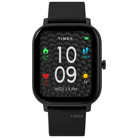 Timex Metropolitan S AMOLED Smartwatch with GPS & Heart Rate 36mm - Black with Black Silicone Strap
