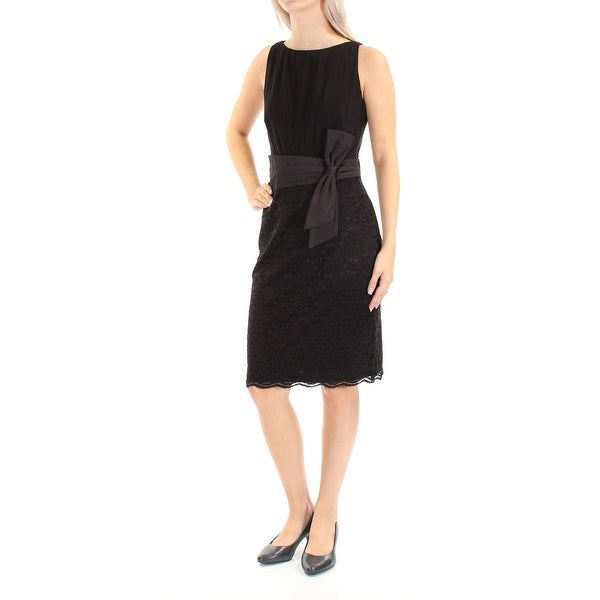 902e89da3c0c5 AMERICAN LIVING Womens Black Lace Sleeveless Jewel Neck Knee Length Sheath  Dress Size: 16