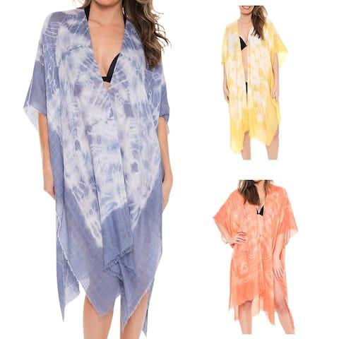 Women's Kimono Summer Tye-Dye Print Lightweight Long Top Cover Beachwear Dress - One Size