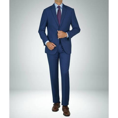 Carlo Studio Bird's Eye Medium Blue Modern-Fit Suit