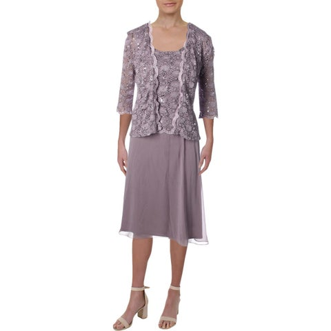 R&M Richards Womens Dress With Cardigan Sequined 2PC