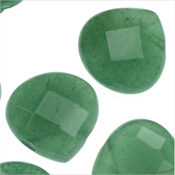 Natural Aventurine Gemstone Beads, Faceted Puff Heart Briolettes 13mm, 10 Pieces, Green
