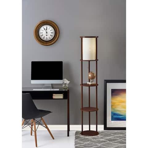 Adesso 62-inch Round Stewart Shelf Floor Lamp