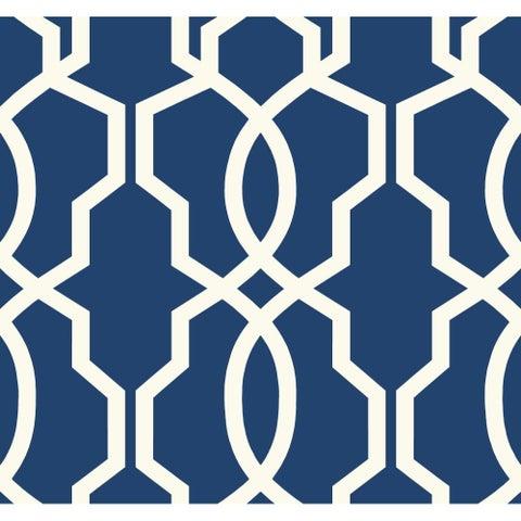 York Wallcoverings GE3668 Ashford Geometrics Hourglass Trellis Wallpaper - Dark Blue/White - N/A