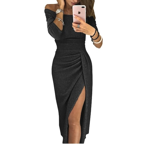 New Lady Package Hip Slits Sparkling Dress