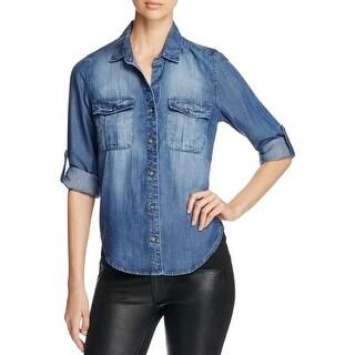 Side Stitch Womens Utility Button-Down Top Tencel Collar - xs