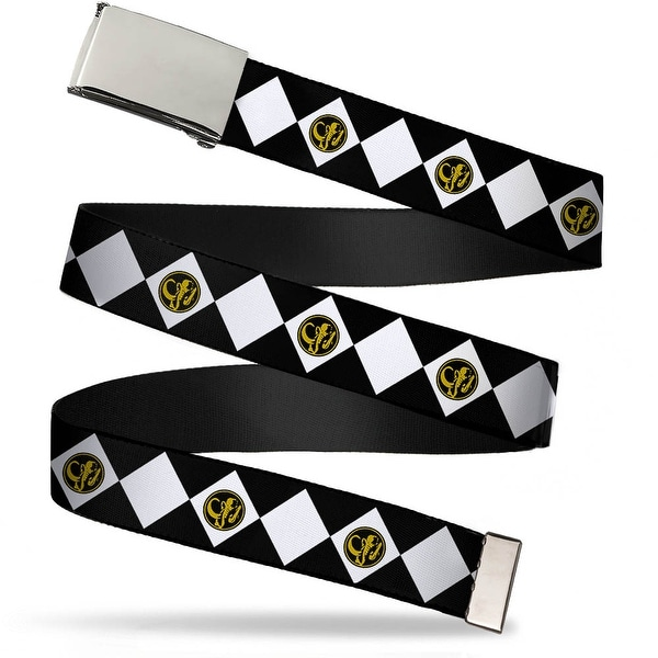 Blank Chrome Buckle Diamond Black Ranger Webbing Web Belt - S