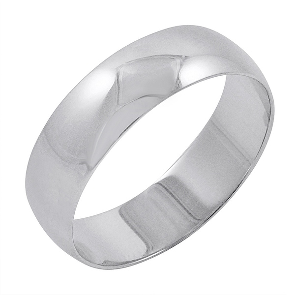 Shop Men's 10K White Gold 6mm Traditional Plain Wedding