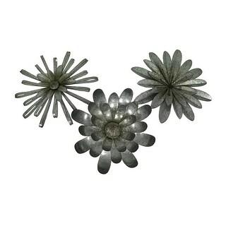 3 Piece Galvanized Metal Blooming Flowers 3D Wall Sculpture Set
