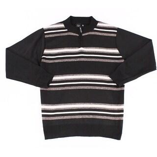 BURNSIDE Black Mens Size 2XL Pullover Stripe Quarter Zip Swearer