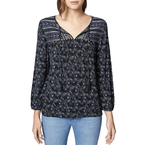 Sanctuary Womens Belle Peasant Top Embroidered Casual