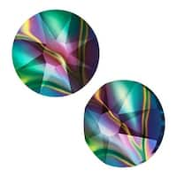 Swarovski Crystal, Round Flatback Rhinestone SS12 3mm, 50 Pieces, Crystal Rainbow Dark
