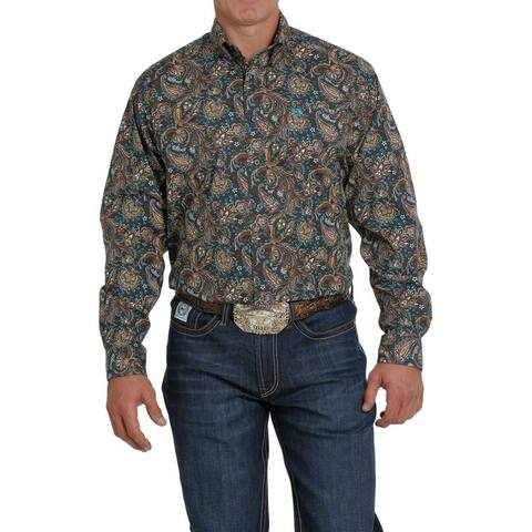 Cinch Western Shirt Mens Long Sleeve Paisley Print Button