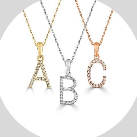 Joelle 14k Gold and Diamond Letter Necklace - Initial Pendant 16-18 inch Chain - Personalized Gift For Her