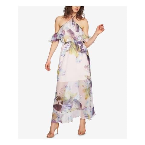 CECE Womens Purple Printed Short Sleeve Halter Maxi Dress Size 0
