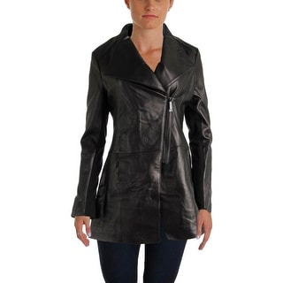 Elie Tahari Womens Claire Leather Asymmetrical Jacket