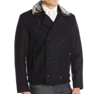 Calvin Klein NEW Black Mens Large L Faux-Fur Double Breasted Wool Coat