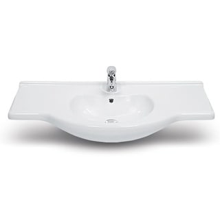 """Nameeks 066700-U  CeraStyle 41-3/5"""" Ceramic Wall Mounted Bathroom Sink with 1 Faucet Hole and Overflow - White - One Hole"""
