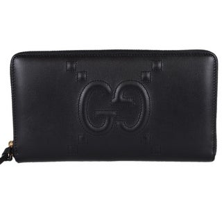 """Gucci 453396 Black Leather Original Apollo Embossed GG Zip Wallet Clutch - 8.4 x 1"""" x 4.5"""" (when closed)"""