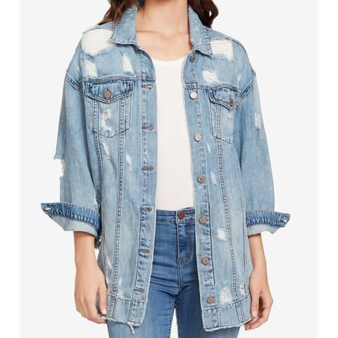 William Rast Women's Blue Size Medium M Distressed Denim Jacket