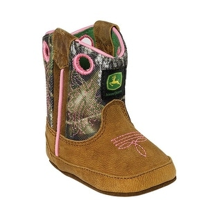 Johnny Popper Western Boots Girls John Deere Infant Camo Pink JD0246