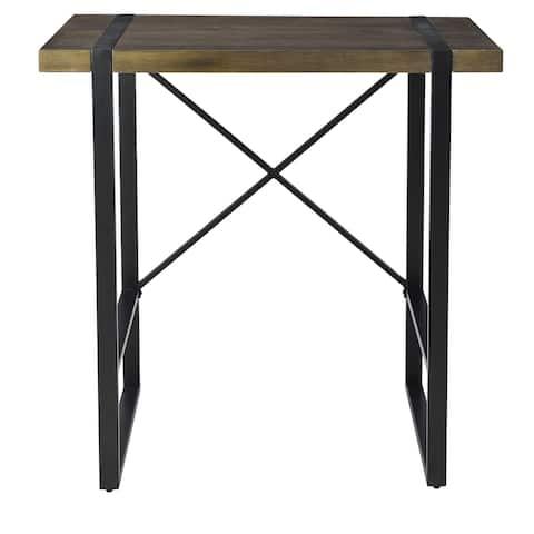 "Josie 36""W Standing Mango Wood and Black Metal Desk"