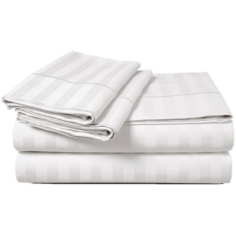 Luxury 500 Thread Count Egyptian Cotton Solid or Striped Sheet Set