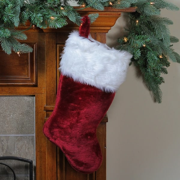 19 5 Red Super Plush Traditional Christmas Stocking With White Cuff N A