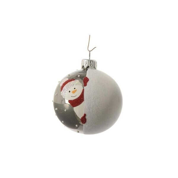 "Alpine Chic Pearl Gray Decorative Snowman Design Glass Christmas Ball Ornament 3.25"" (80mm)"