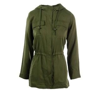 Eileen Fisher Womens Petites Tencel Hooded Anorak Jacket