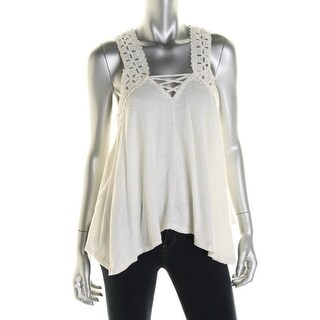 Free People Womens Eyelet Trim Criss-Cross Back Pullover Top