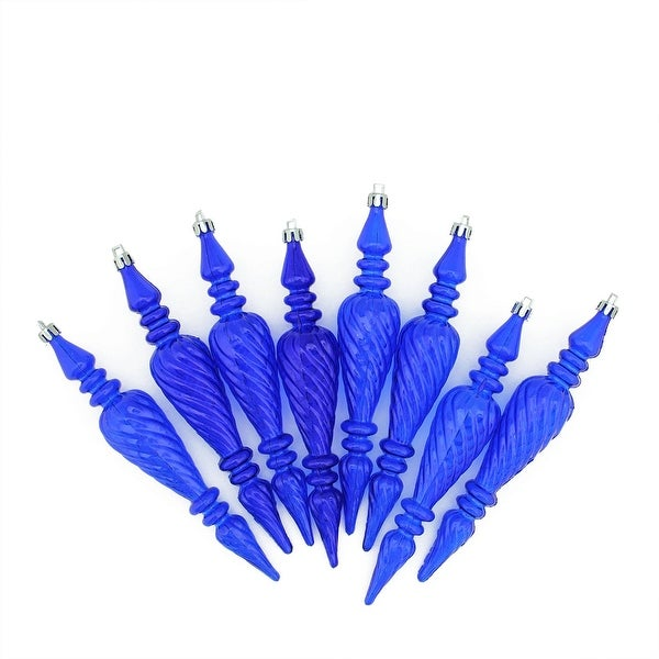 "8ct Lavish Blue Transparent Spiral Finial Shatterproof Christmas Ornaments 7"" (180mm)"