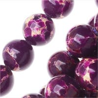 Impression Jasper Gemstone Beads, Round 8mm, 15 Inch Strand, Deep Purple