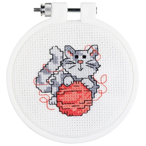 "Kid Stitch Kitty Mini Counted Cross Stitch Kit-3"" Round 14 Count"