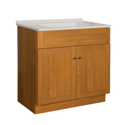 "Foremost DNVT3018 Dennison 31"" Free Standing Single Basin Vanity Set with Wood Cabinet, Stone Composite Vanity Top and"