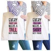 Tall Short Friend BFF Matching Canvas Bags Natural Birthday Gifts