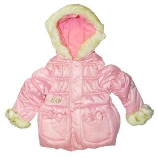 London Fog Girls 2T-4T Fur Bow Jacket - Grey