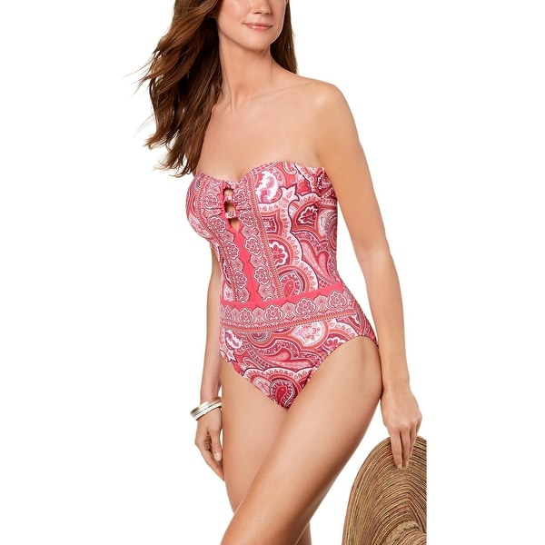 6ae61a7b83 Lauren Ralph Lauren Womens Aegean Paisley-Print Bandeau One-Piece Swimsuit  14