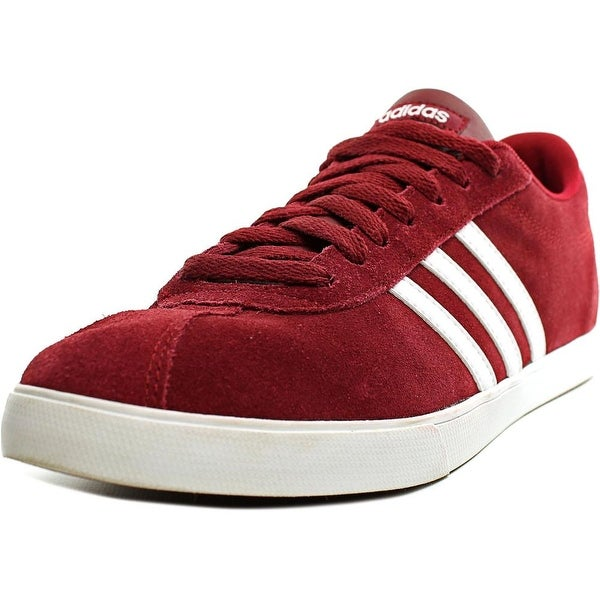 Adidas Courtset Women Round Toe Suede Burgundy Sneakers