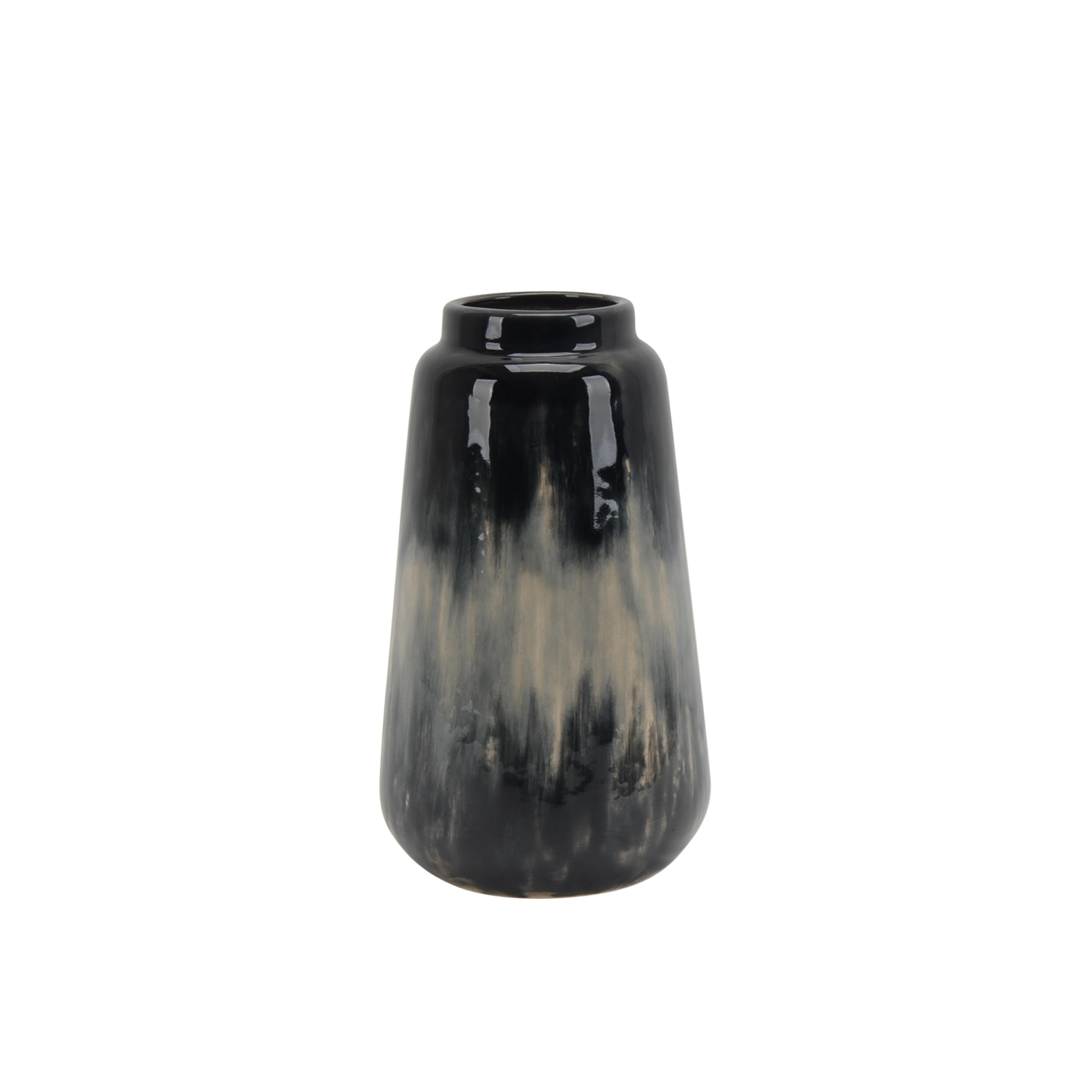 Textured Decorative Ceramic Vase with Round Opening, Black and Beige